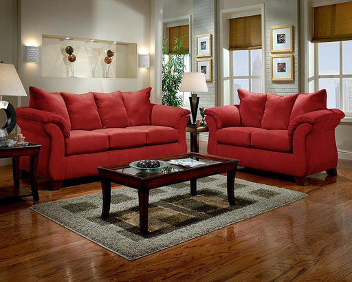 Sensations Microfiber Sofa and Loveseat, Red - @ARFurnitureMart