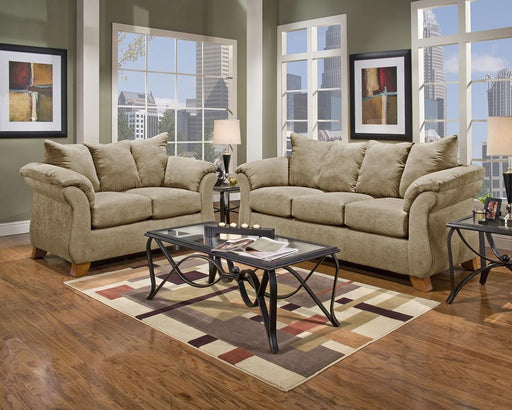 Sensations Microfiber Sofa and Loveseat, Tan - @ARFurnitureMart