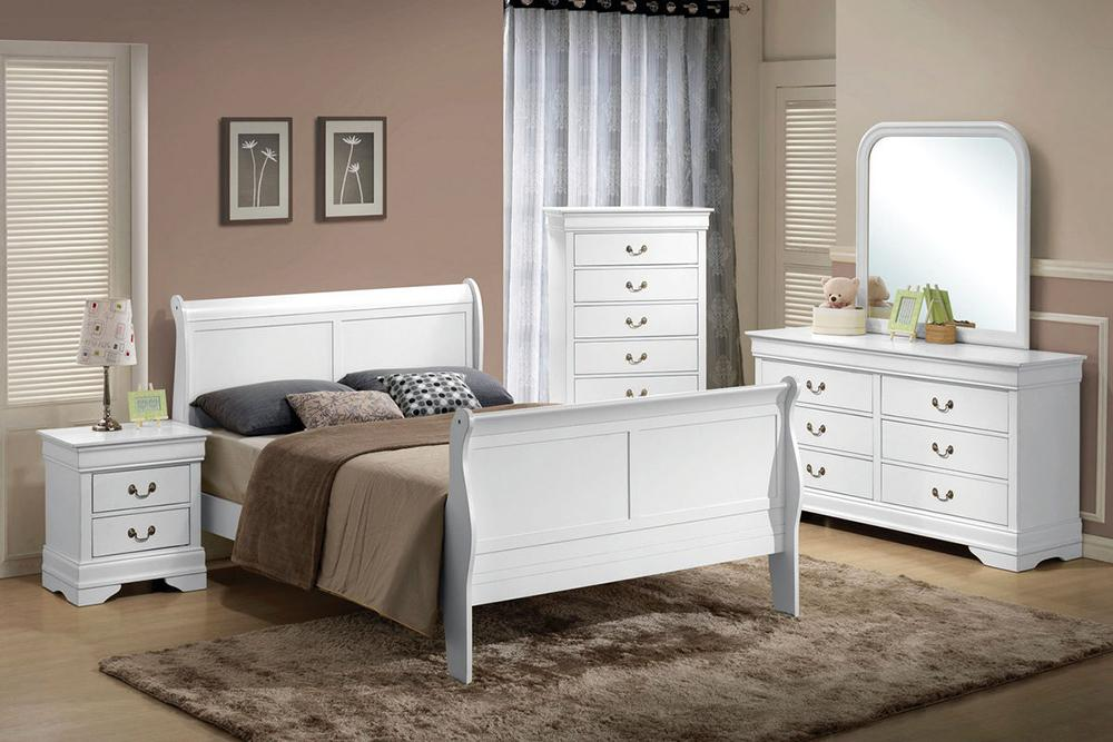 Sleigh Bed Bedroom Set White Quality Furniture Discount Prices