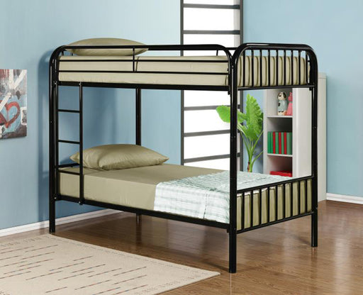 Twin/twin black metal bunkbed with mattresses - @ARFurnitureMart