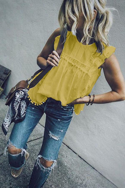 Hollow Out Lace Sleeveless Shirt