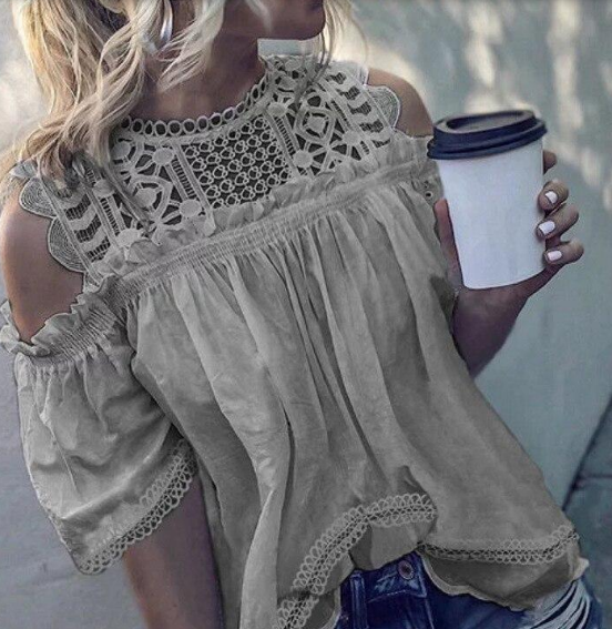 Hollow Out Lace Shirt