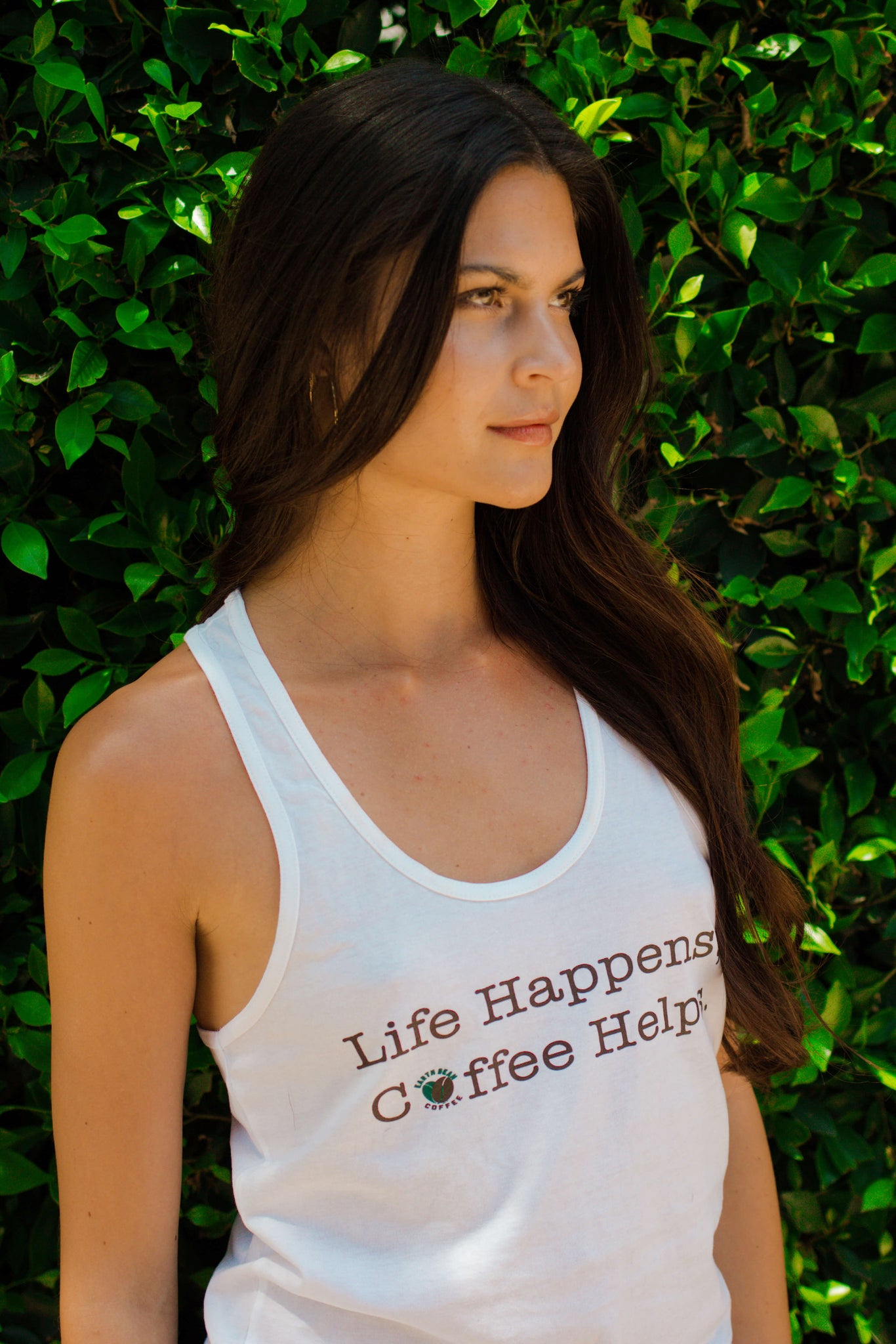 """Life Happens, Coffee Helps."" Women's Racerback Tank"