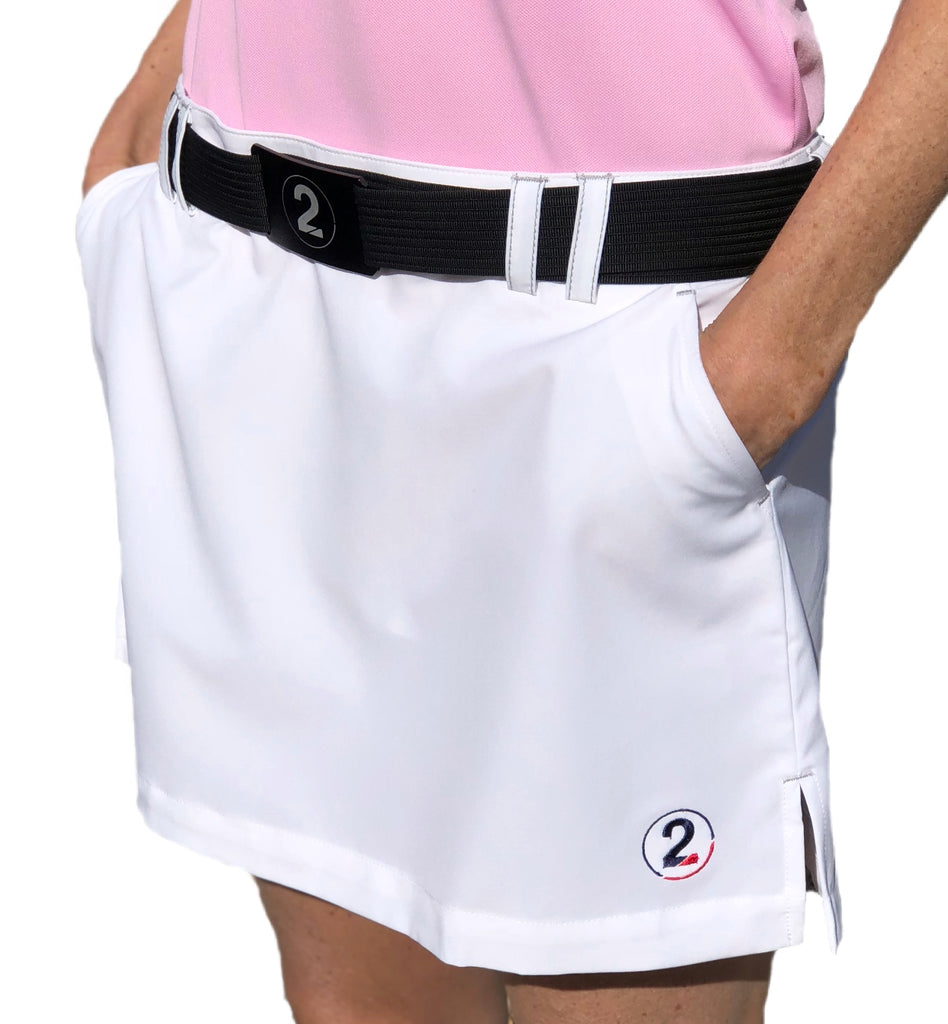 PERFORMANCE SKORT-WHITE - 2GG Apparel