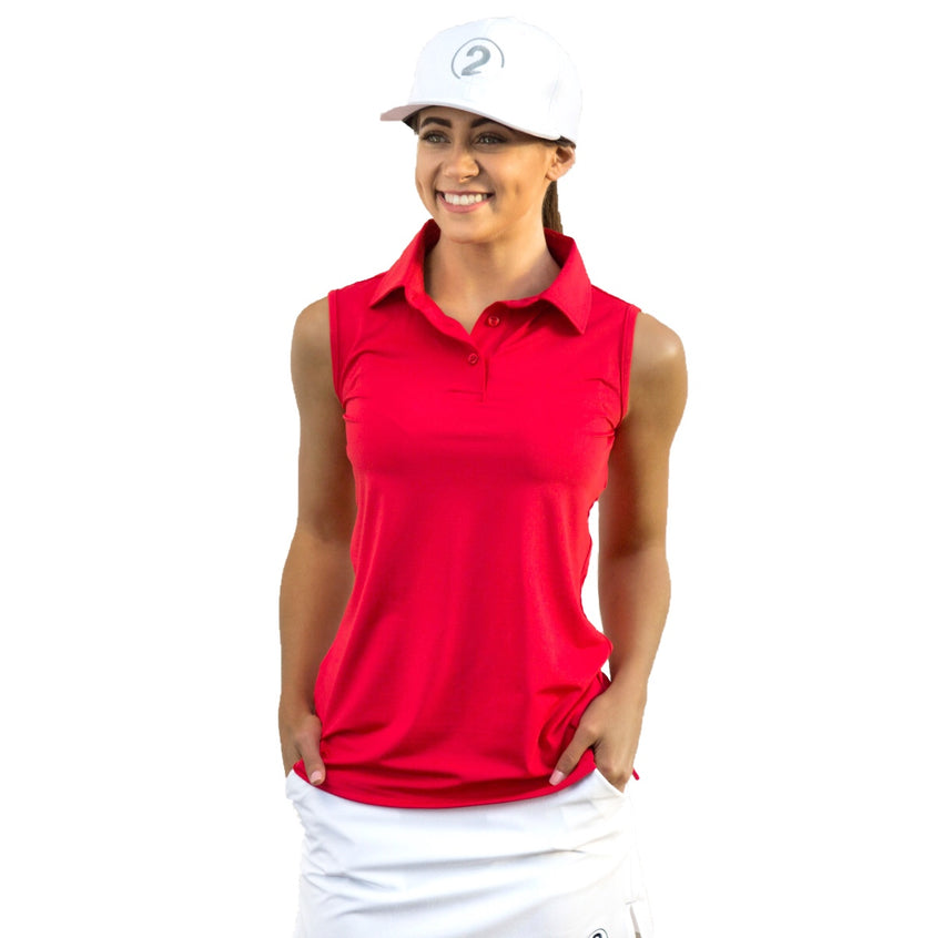 SLEEVELESS POLO - RED - 2GG Apparel