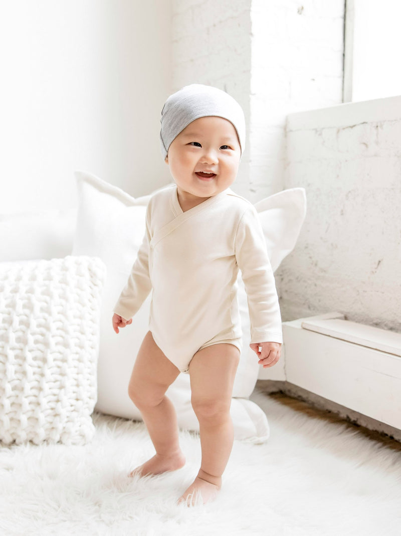 Classic Kimono Bodysuit - Long Sleeve - Baby : Bodysuits : Long Sleeves - Colored Organics