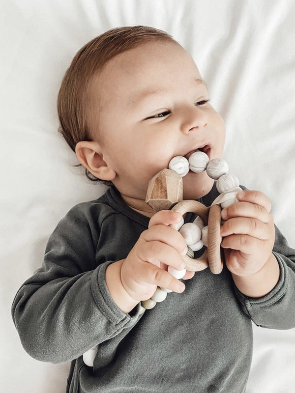 Silicone + Wood Teether Ring