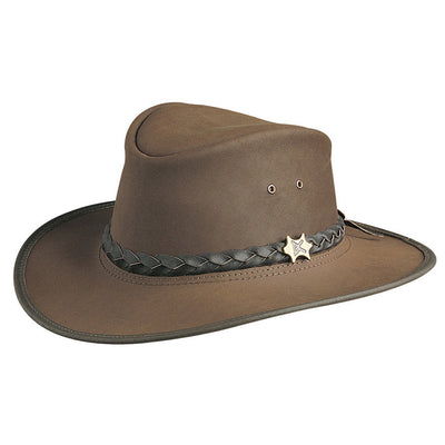 Conner Hats Aussie Hats Brown   Small BC Hats Bush and City Shapeable  Australian Leather Hat 409f5377f6cd