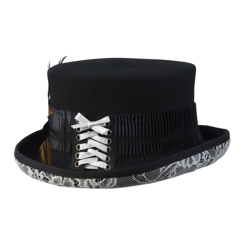 Conner Hats Steampunk Hats Black   One Size White Lace Victorian Steampunk  Top Hat 9f9bf556e9d