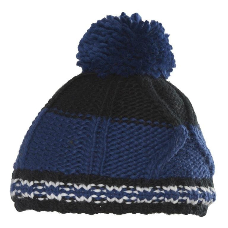 Heckle Striped Cable Cuffed Pom Beanie