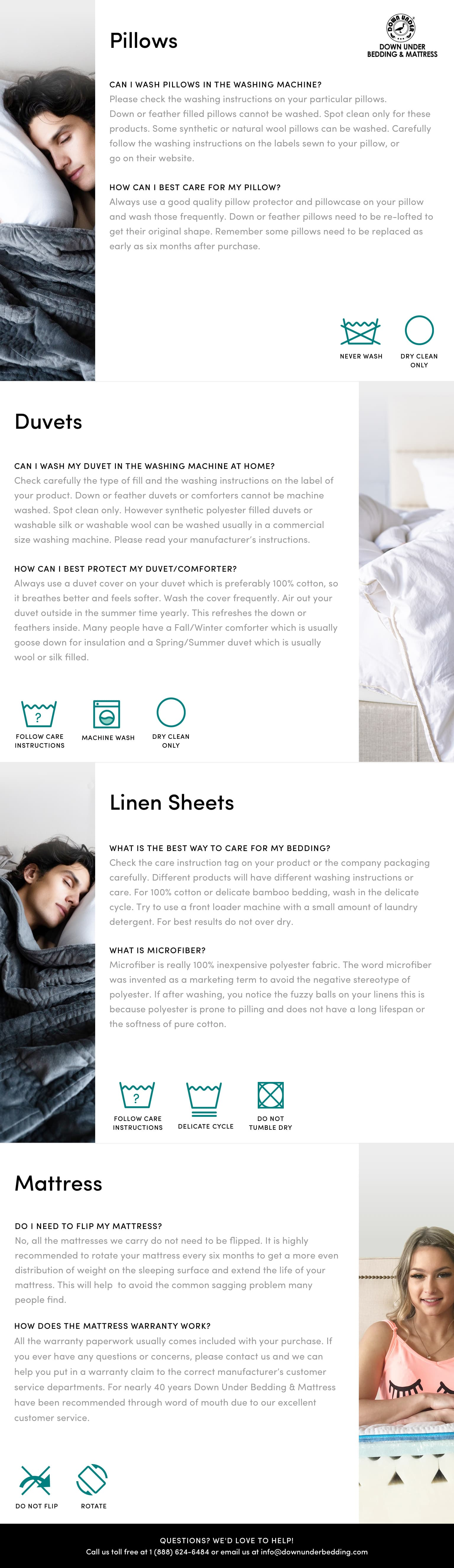 product care - pillows, mattresses and linens - down under bedding