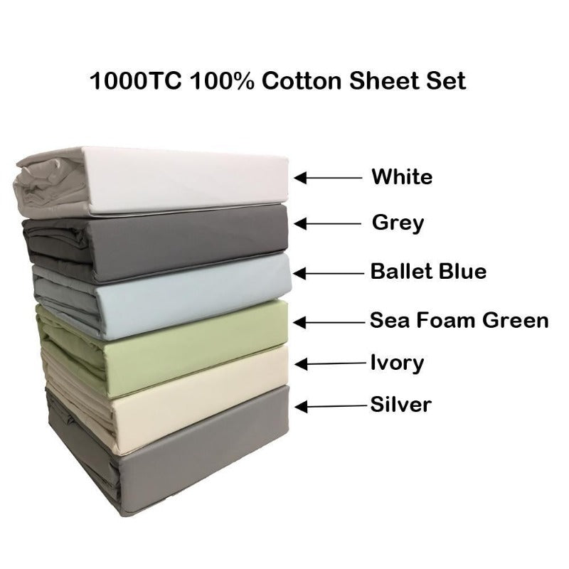cotton plain fitted bed sheet set 1000 thread count 2 pillowcases queen washable luxurious bedding single ply comfortable