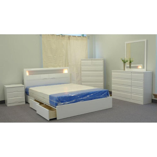 Marquee Storage bed with lights on the headboard - Down Under Bedding and Mattresses