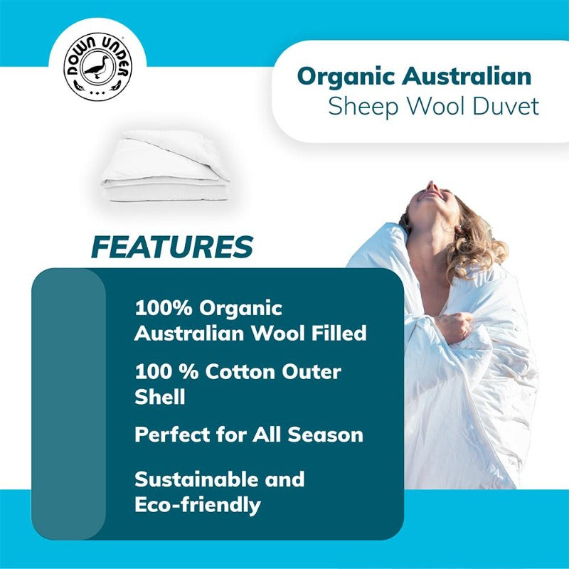 Organic Washable Wool Duvet Comforter All Season Blanket