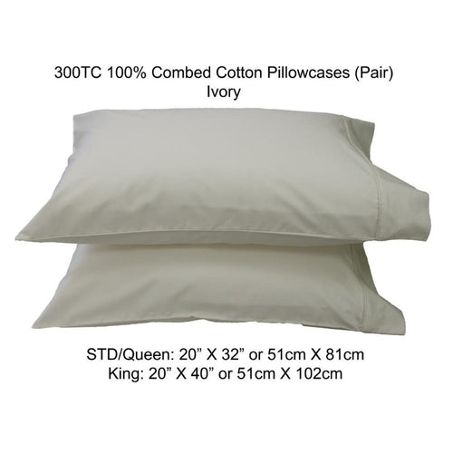 300TC 100% Combed Cotton Sheets Ivory - Down Under Bedding and Mattresses