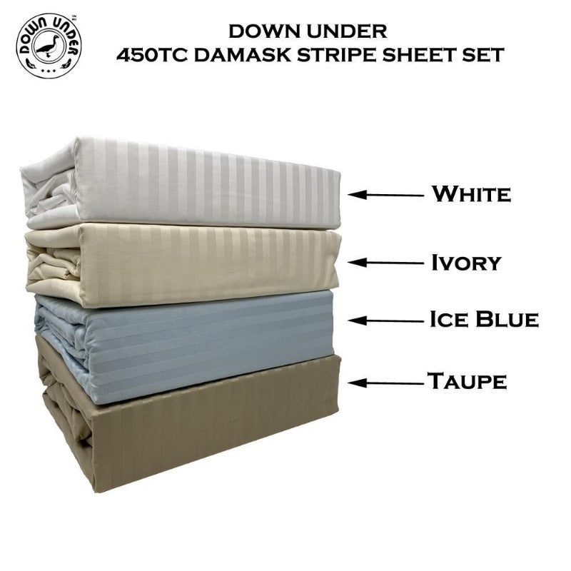 combed cotton 450 thread cotton breathable damask striped flat fitted bed sheet pillowcase single-ply luxurious hotel bedding