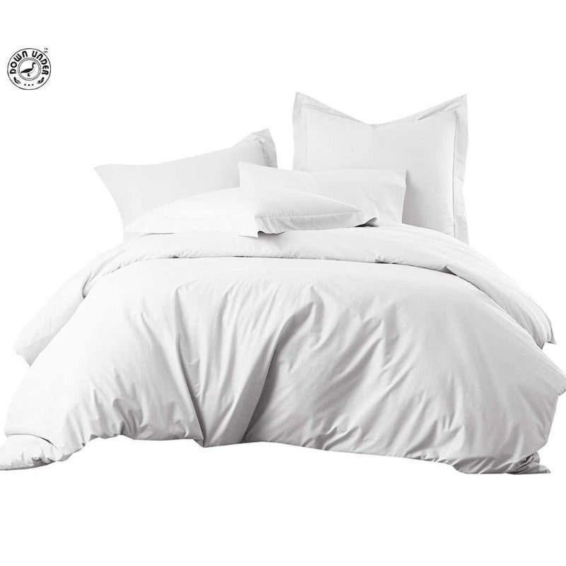 pure cotton duvet cover set 500TC all-season luxury comfy breathable king queen washable skin-friendly zipper white bedding
