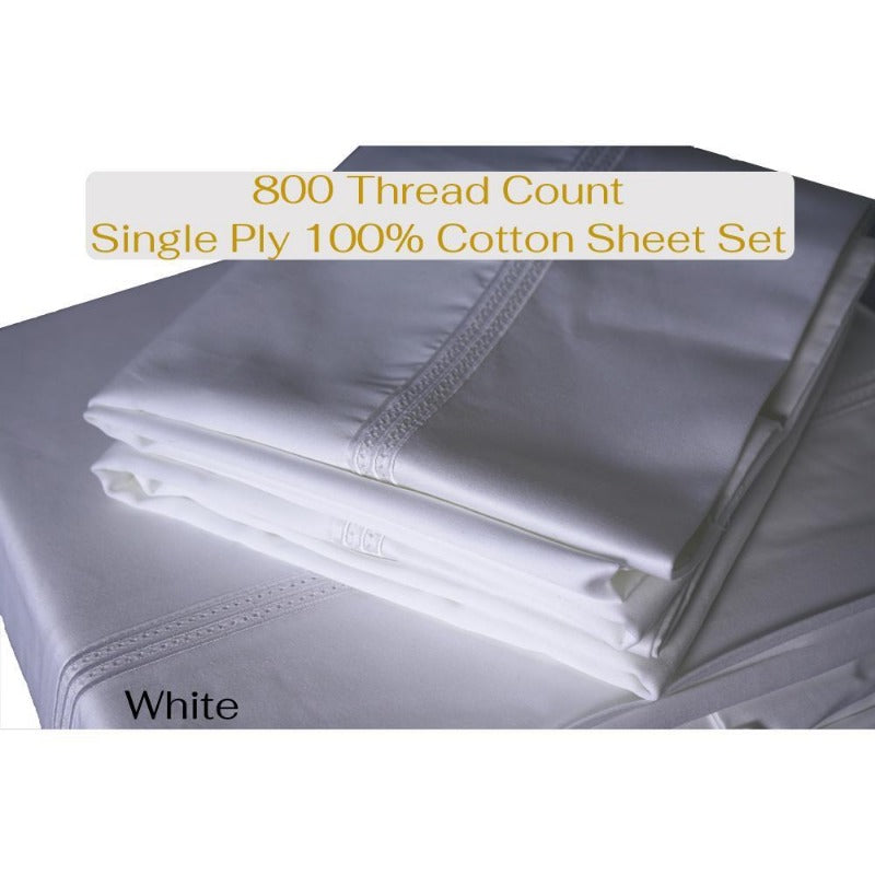 Single Ply 800 TC 100% Egyptian Cotton Sheet Set - Down Under Bedding and Mattresses