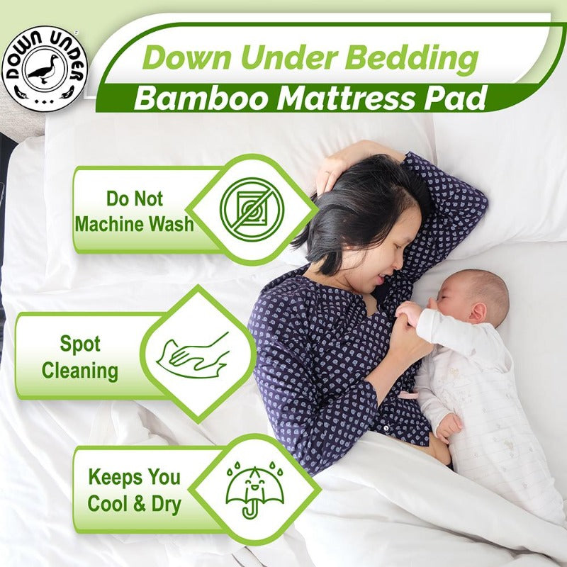 100% Bamboo Mattress Pad Cover | Down Under Bedding