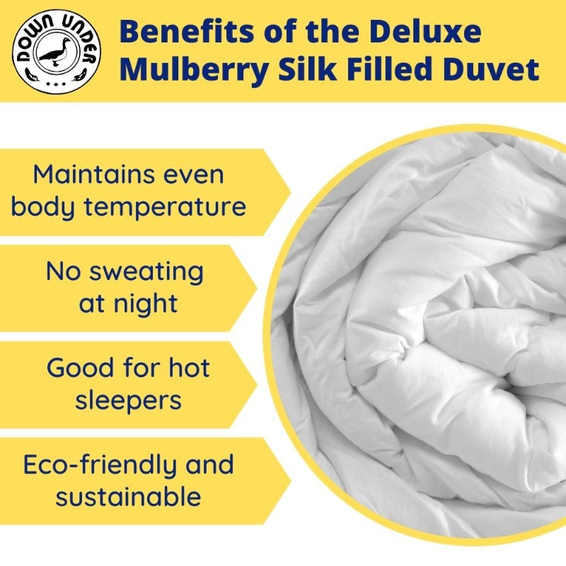Down Under 100% Deluxe Mulberry Silk Filled Duvet with Corner Ties