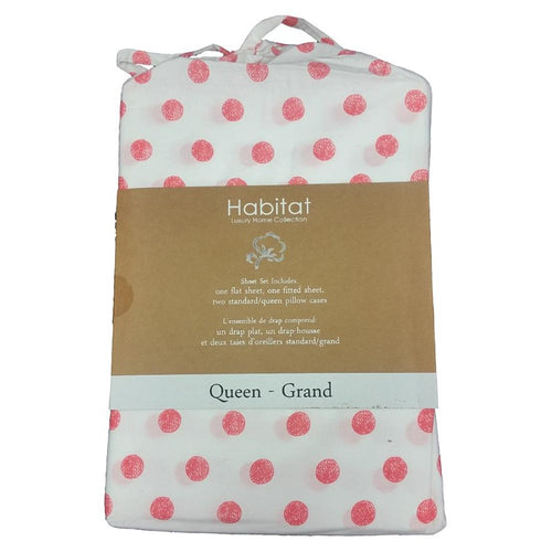 100% Organic Cotton Printed Sheet Set Dream Dots Pink - Down Under Bedding and Mattresses