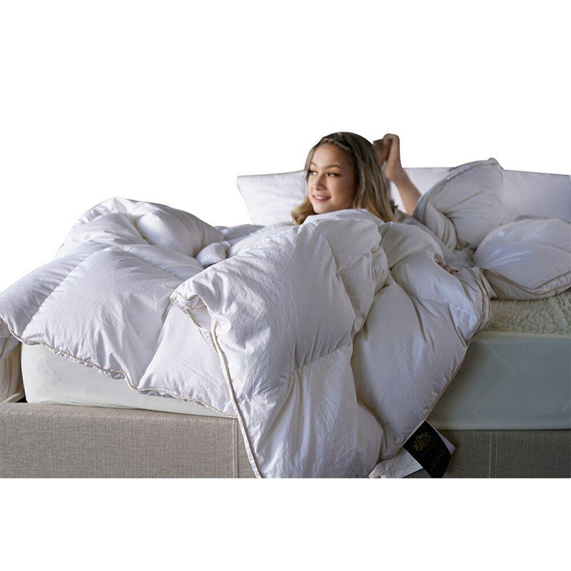 goose down duvet blanket 850 loft comforter cozy quilt cotton cover corner ties warm oversize queen king gusset 650 TC baffle