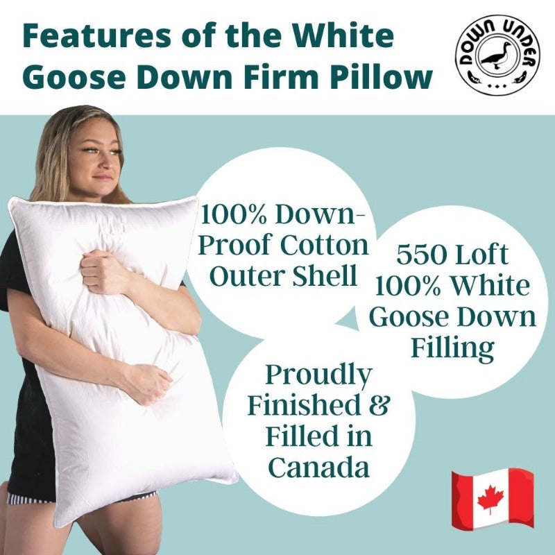 Features of the white goose down firm pillow in Canada