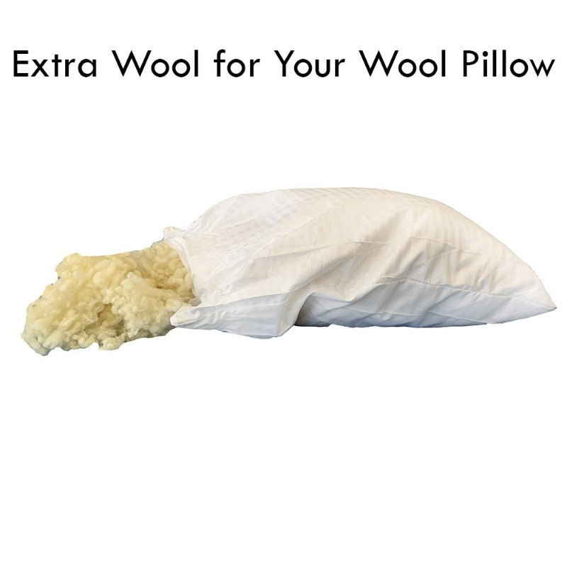 organic australian wool pillow thermoregulating extra wool 1 lb washable biodegradable eco-friendly filling no chemicals warm