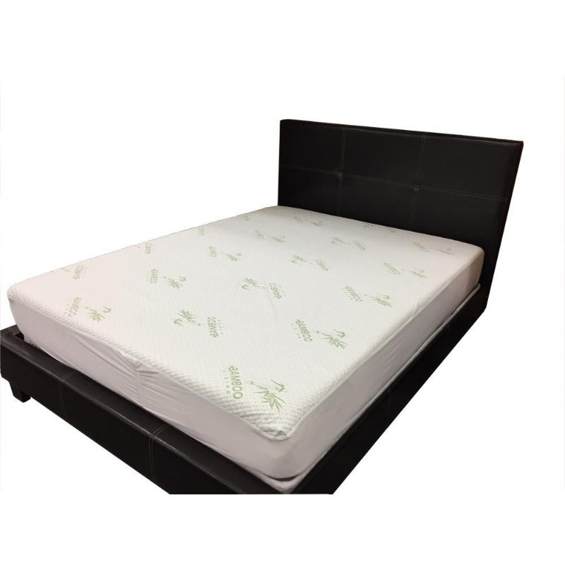 bamboo polyester blend mattress protector waterproof soft luxurious easy-care washable breathable anti-bacterial white 1 pc