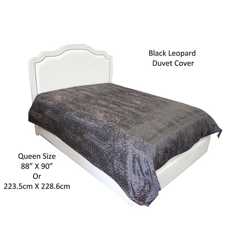 damask black leopard design duvet cover set corner ties wrinkle free soft comfortable queen washable cotton polyester blend