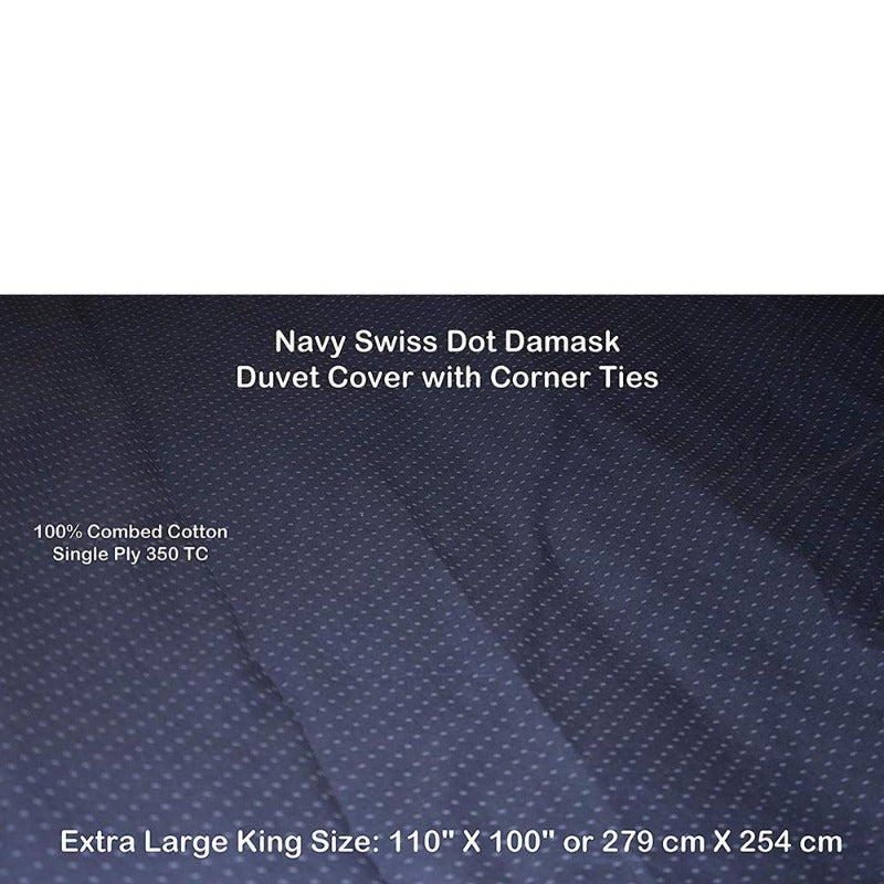 "Swiss Dot 100% Cotton 350TC Super King/Cal King Duvet Cover 110"" X 100"" - Down Under Bedding and Mattresses"