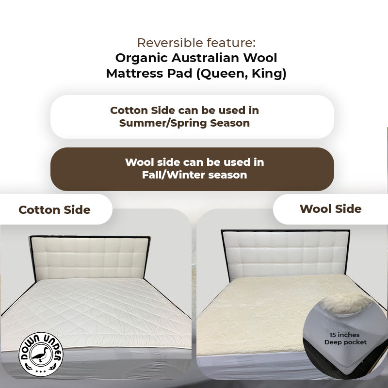 organic wool mattress pad washable australian wool fleece 2.54cm thick soft reversible eco-friendly cozy comfy twin extralong