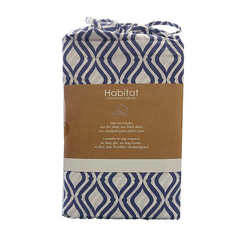 100% Organic Cotton Printed Sheet Set (Blue) - Down Under Bedding and Mattresses