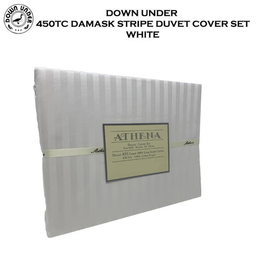 Down Under 450TC Damask Stripe Duvet Cover Set - Down Under Bedding and Mattresses