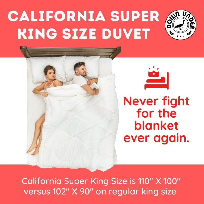 "Filled In Canada Hungarian White Down Duvet Comforter California King 110""X 100"""
