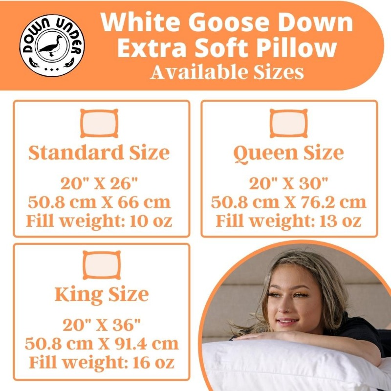 White Goose Down Extra Soft Pillows | Down Under Bedding Canada
