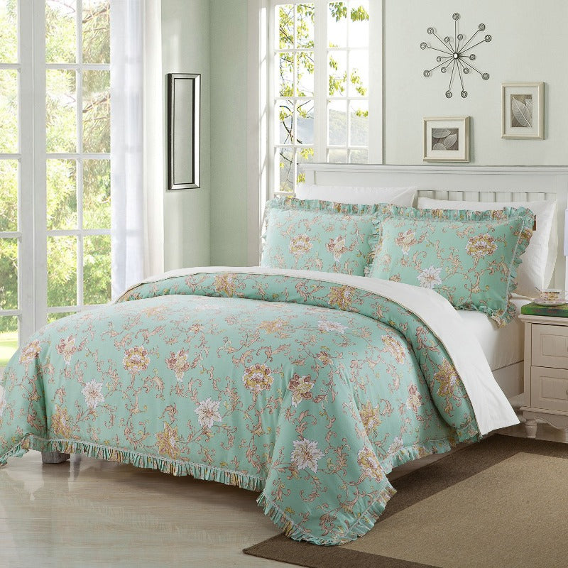 cotton contemporary duvet comforter cover bedding thread count ultrasoft breathable washable floral pattern bedroom decor
