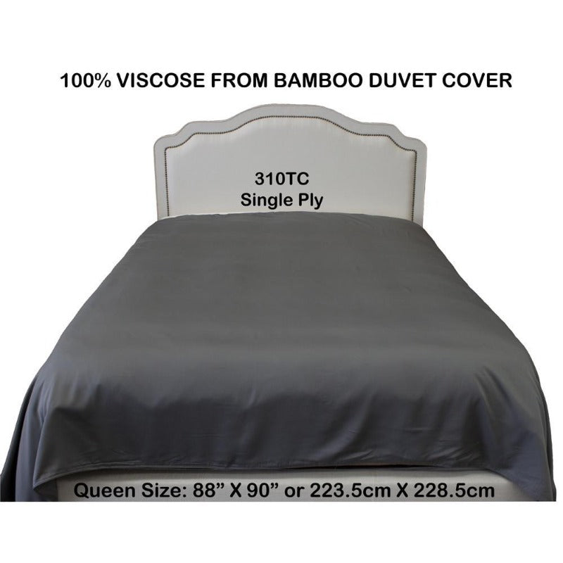 Grey 310 TC 100% Viscose from Bamboo Duvet Cover (Queen) - Down Under Bedding and Mattresses