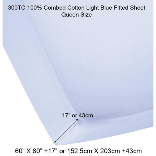 300TC 100% Combed Cotton Sheets Light Blue - Down Under Bedding and Mattresses