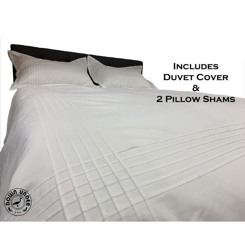 Chester White 100% Cotton Pin Tuck Duvet Comforter Cover 3 Piece Set - Down Under Bedding and Mattresses