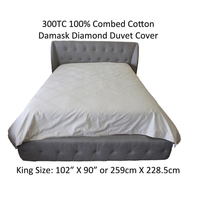 Damask Diamond 300TC 100% Combed Cotton Ivory Duvet Cover - Down Under Bedding and Mattresses
