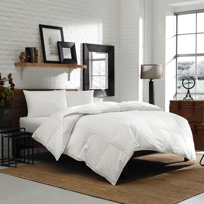 white duck down 600 loft fill power 300 threadcount comforter duvet quilt damask cotton baffle box all season blanket fluffy