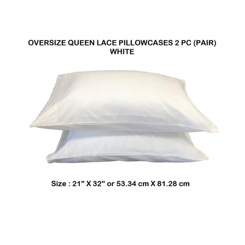 Oversize Queen Lace Pillowcases 2 PC (Pair) - Down Under Bedding and Mattresses