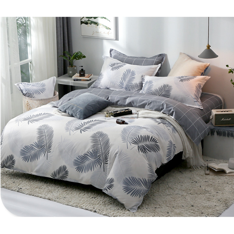 Down Under Grey Leaves 3PC Reversible Cotton Blend Duvet Cover Set With Pillowcases (WEB ONLY) - Down Under Bedding and Mattresses