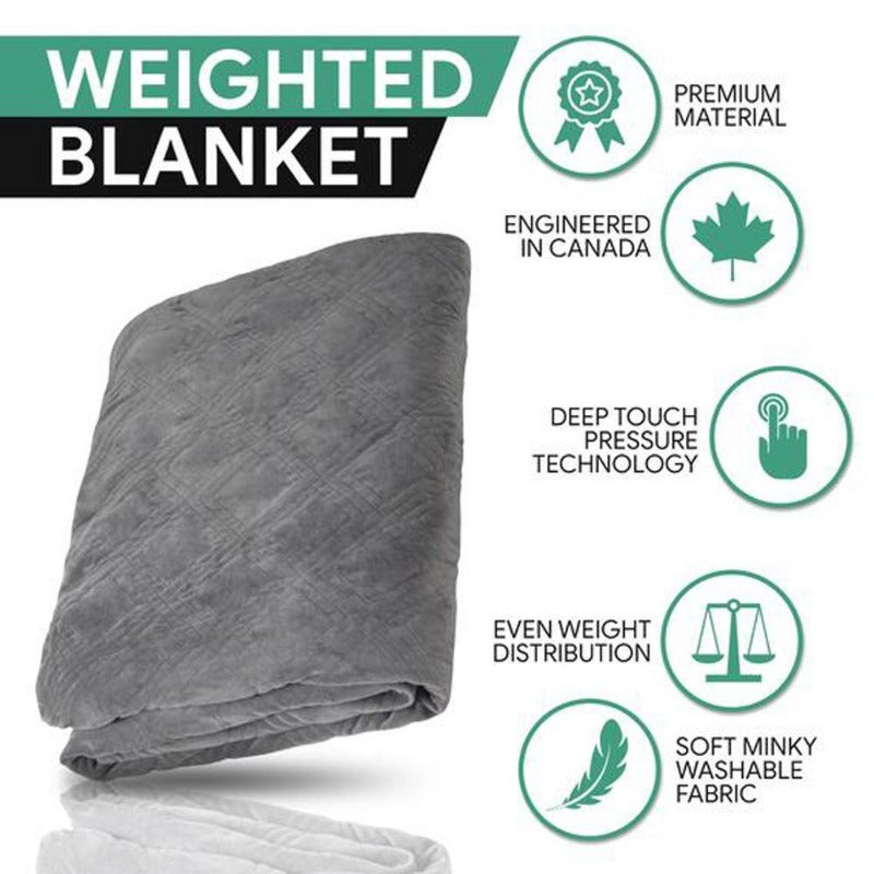 weighted blanket hush insomnia pressure relief anxiety removable duvet cover soft comfortable cotton-polyester blend warm