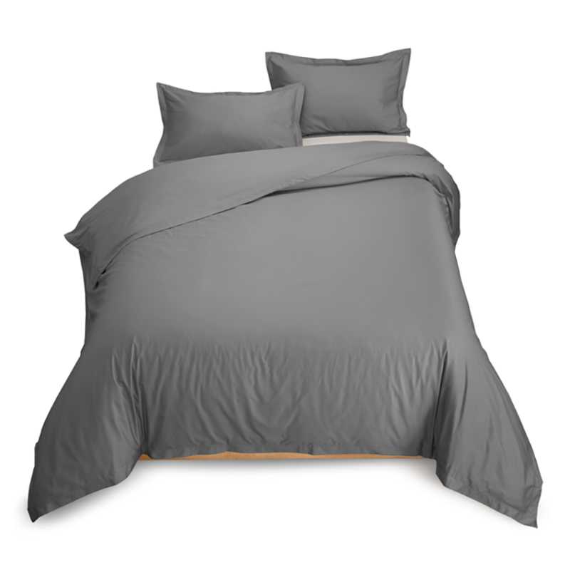 Grey Combed Cotton Duvet Cover with Corner Ties