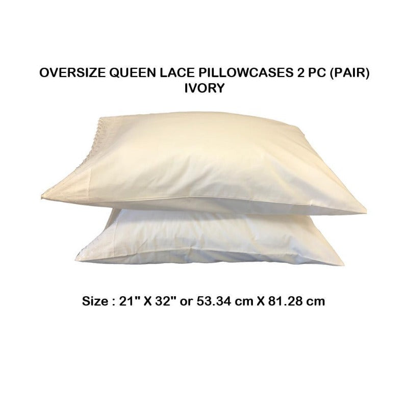 queen size pillow cover cotton polyester blend encasement 400 thread count lace pillowcase washable classic 2 piece set white