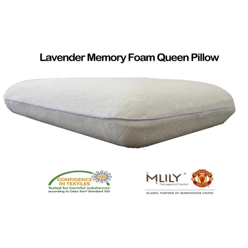 MLILY Lavender Memory Foam Queen Pillow - Down Under Bedding and Mattresses