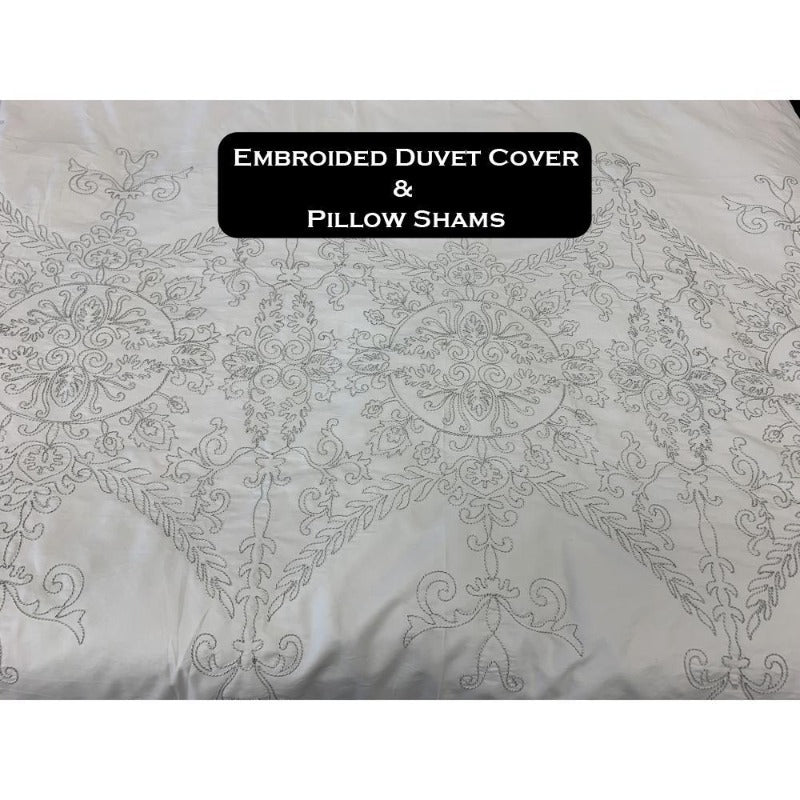 100% Cotton Oversized Embroidery Duvet Comforter Cover 3 Piece Set - Down Under Bedding and Mattresses