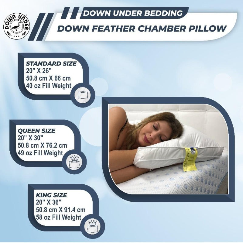 Down Feather Chamber pillow sizes